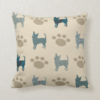 Chihuahua And Paw Throw Pillow