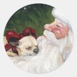 Chihuahua and Santa Claus Art Sticker