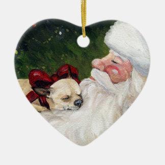 Chihuahua and Santa Dog Art Christmas Ornament