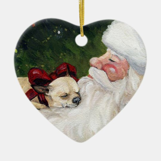 Chihuahua and Santa Dog Art Christmas Ornament