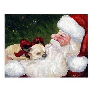 """""""Chihuahua and Santa"""" Dog Art Christmas Postcard"""