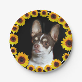 Chihuahua and Sunflowers  dog paper plates