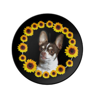 Chihuahua and sunflowers porcelain plate