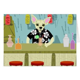 Chihuahua Bamboo Tiki Bar Card