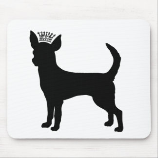 Chihuahua Basic Black Crown Silhouette Mousepad