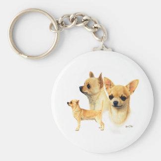 Chihuahua Basic Round Button Key Ring