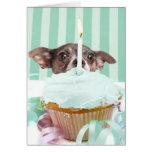 Chihuahua birthday cake greeting card