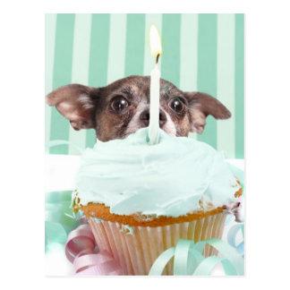 Chihuahua birthday cake postcard