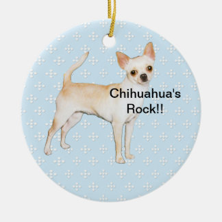 Chihuahua ~ Blue w/ White Diamonds Design Round Ceramic Decoration