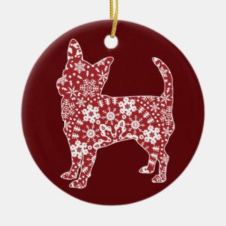 Chihuahua, Boho Christmas Snowflakes Round Ceramic Decoration
