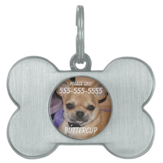 Chihuahua Bone Pet Tag With Photo