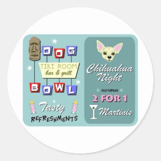 Chihuahua Bowling Tiki Night Round Sticker
