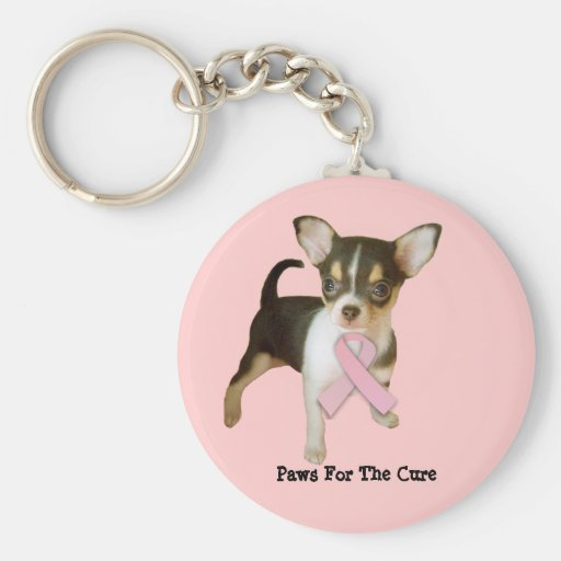 Chihuahua Breast Cancer Keychain