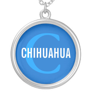Chihuahua Breed Monogram Design Round Pendant Necklace