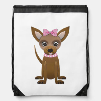 Chihuahua cartoon drawstring bag