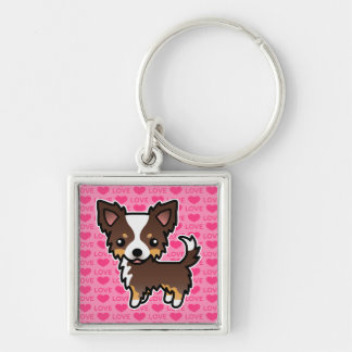 Chihuahua Chocolate Tricolor Long Coat Love Hearts Silver-Colored Square Key Ring