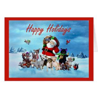 Chihuahua Christmas Card Santa and Animals