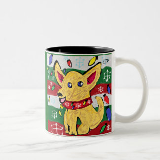 Chihuahua  Christmas Two-Tone Coffee Mug