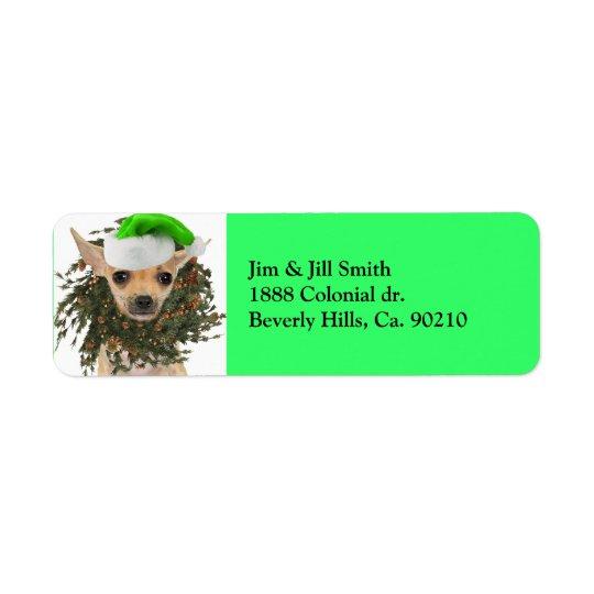 Chihuahua Christmas Wreath & Hat Return Address Label