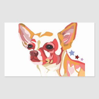 Chihuahua Colorful Abstract Rectangle Stickers
