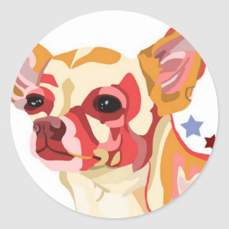 Chihuahua Colorful Abstract Round Stickers