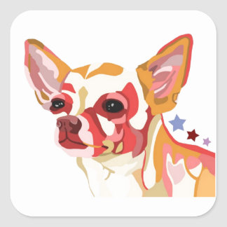 Chihuahua Colorful Abstract Square Sticker