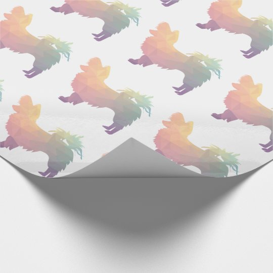 Chihuahua Colourful Geometric Pattern Silhouette Wrapping Paper