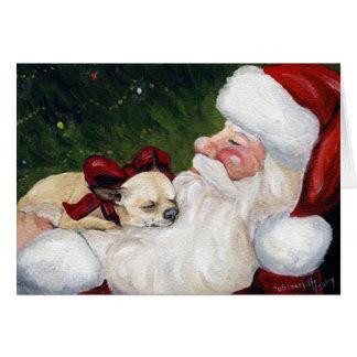 """Chihuahua Cosy Christmas"" Dog Art Greeting Card"
