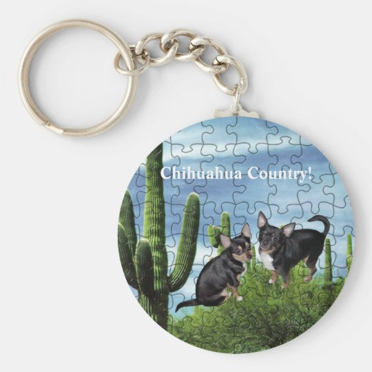 Chihuahua Country 1 Basic Round Button Key Ring