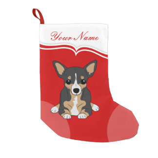 Chihuahua Cute Black Brown White Dog Small Christmas Stocking