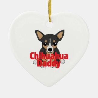 Chihuahua Daddy Black Tan Ceramic Heart Decoration