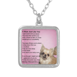 chihuahua Design - Mum Poem Silver Plated Necklace
