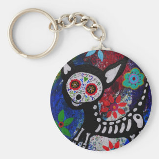 Chihuahua Dia De los Muertos by Prisarts Basic Round Button Key Ring