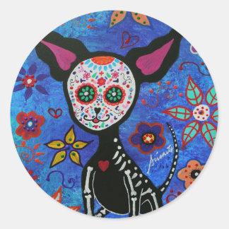 Chihuahua Dia de los Muertos Round Sticker