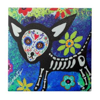 Chihuahua Dia de Los Muertos Tiles by prisarts