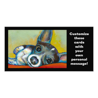 Chihuahua dog art - adorable fun portrait painting card