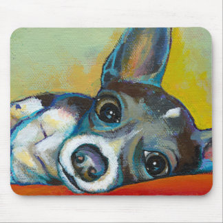 Chihuahua dog art - adorable fun portrait painting mouse pad
