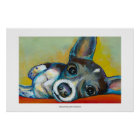 Chihuahua dog art - adorable fun portrait painting poster