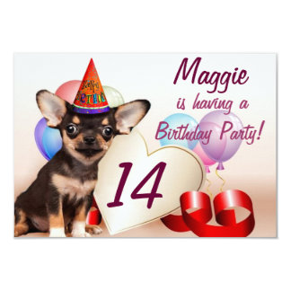"""Chihuahua dog birthday party invitation 3.5"""" x 5"""" invitation card"""