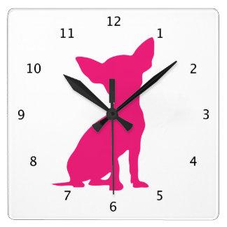 Chihuahua dog cute beautiful pink silhouette clock