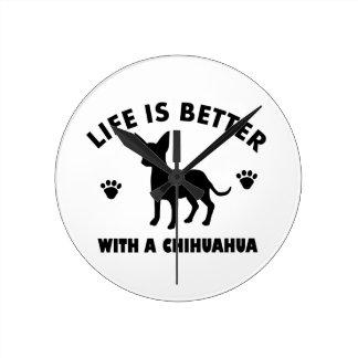 chihuahua dog design wall clock