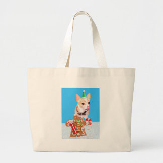 chihuahua dog eating gingerbread man jumbo tote bag