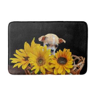 Chihuahua dog in sunflowers bathmat bath mats