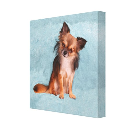 Chihuahua Dog Watercolor Art Portrait Painting Canvas Print