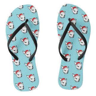 Chihuahua Dog with Christmas Santa Hat Pattern Flip Flops