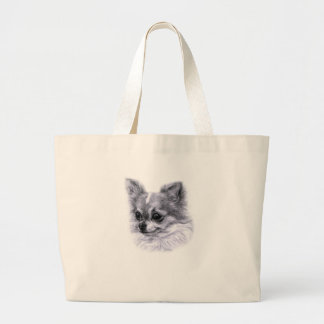 Chihuahua Drawing Large Tote Bag