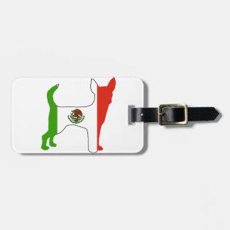 chihuahua flag silhouette bag tag
