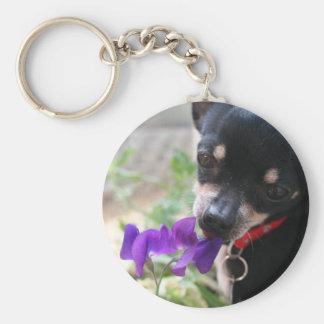 Chihuahua & Flower Key Ring
