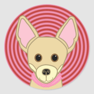 Chihuahua Girl Face Round Sticker