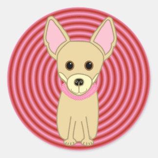 Chihuahua Girl Round Sticker